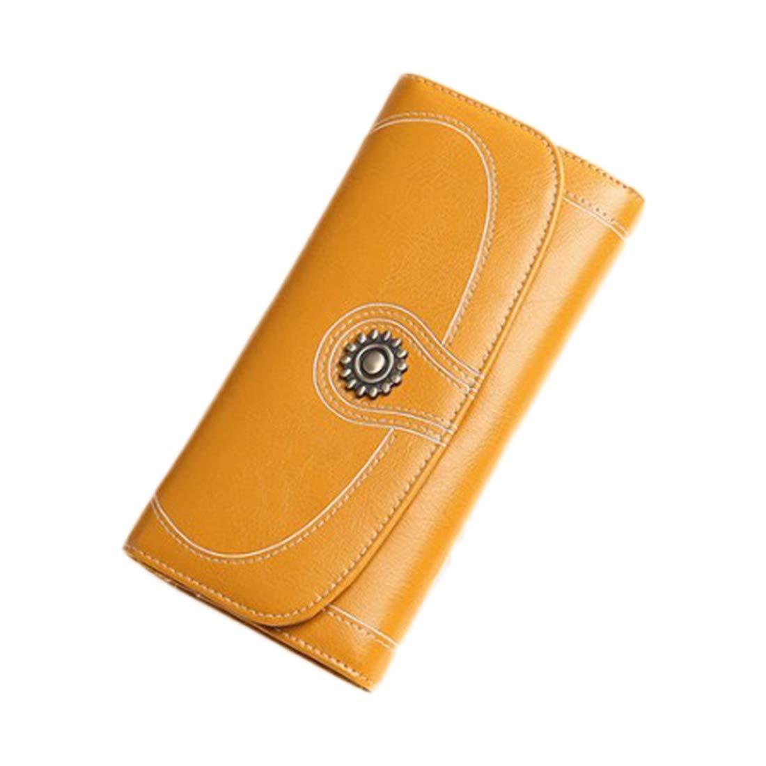 WEATLY Damen Geldbörse Frauen Frauen Frauen Lange Leder Reißverschluss Geldbörse Damen Geldbörse Clutch Rot antikes Gelb gelb B07MV8HNK8 Geldbrsen 40e545