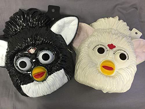 JS & Caren Furby Masks Set of 2 Black and White PVC Kid Size Rubies Halloween Dress Up