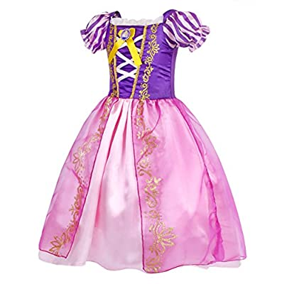 HenzWorld Princess Costume Dress Girls Birthday Party Cosplay Outfit Jewelry Accessories 1-10 Years: Clothing