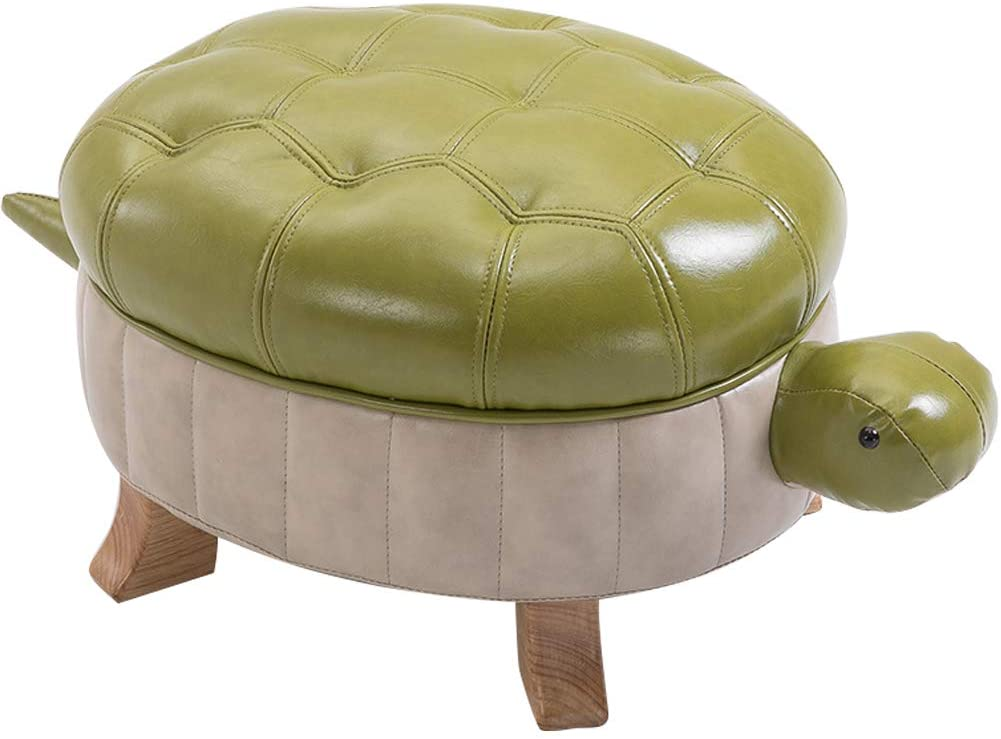 Kelendle Animal Footstool Turtle Upholstered Ottoman PU Leather Pouf Wood Foot Stool Rest for Living Room Bedroom Sofa Bench Seat Chair, Grass Green, Large