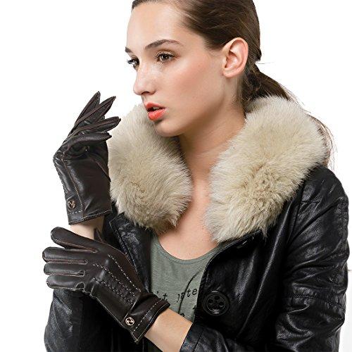 意図艦隊インレイNAPPAGLO レディース 女性用 レザー 羊革 冬 保温 スマホ対応 手作り 通勤 パーティー グローブ 手袋 全て外縫い ロングフリース ライニング