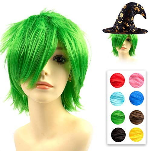 Modernfairy Anime Wig Green for Cosplay Halloween Party, Synthetic Layered Short Hair Wigs with Bangs, Pastel Wigs for Women men