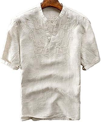 utcoco Mens Retro Frog Button V-Neck Embroidery Linen Henley Shirts Short Sleeve
