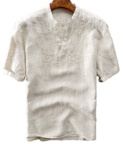 utcoco Men's Retro Frog Button V-Neck Embroidery Linen Henley Shirts Short Sleeve (X-Large, Khaki)