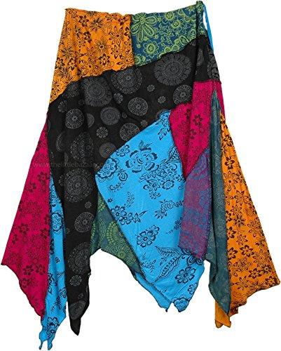 TLB - Asymmetrical Hem Patchwork Floral Hippie Skirt - L:23