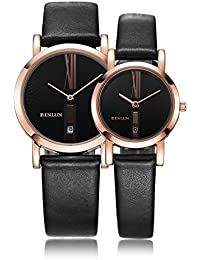 His and Hers Gifts Pair Couple Watches Minimalist Waterproof Leather Rose Gold Watches with Date for