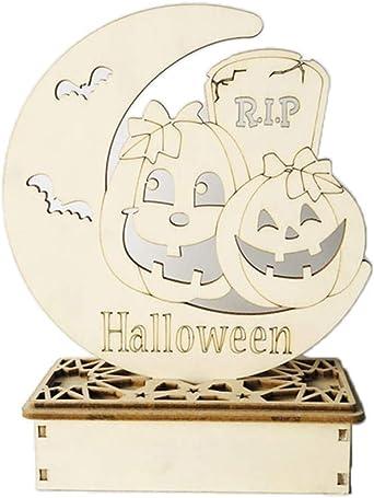 ✪ Halloween Luna calabaza encantada casa adornos de madera LED luz bricolaje Festival decoración del hogar: Amazon.es: Iluminación