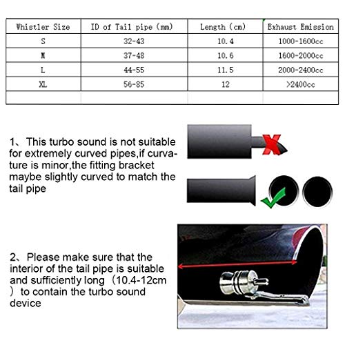Mingsa Store AUTOBM Turbo Sound Simulator Whistle External Modified Muffler Exhaust Fake Turbo Muffler Blow Off Valve Whistle Pipe Sound Simulator Whistle - M