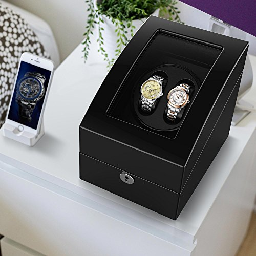 Watch Winder for 5 Watch, Wooden Shell, Piano Paint, Powered by Japanese Motor, Fit for All Size of Automatic Watches, Suitable for Bedroom (Black) by TRIPLE TREE (Image #6)