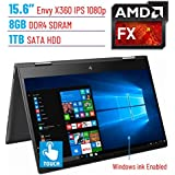 HP Envy x360 15.6 2-in-1 Business Touch IPS FHD (1920x1080) Windows Ink Active Display Laptop PC   AMD FX-9800P   8GB DDR4   1TB HDD   Backlit Keyboard   B&O Play   Windows 10