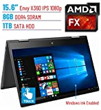 2018 HP Envy x360 15.6'' 2-in-1 Business Premium Touch IPS FHD (1920x1080) Windows Ink Active Display Laptop PC | AMD FX-9800P | 8GB DDR4 | 1TB HDD | Backlit Keyboard | B&O Play | Windows 10