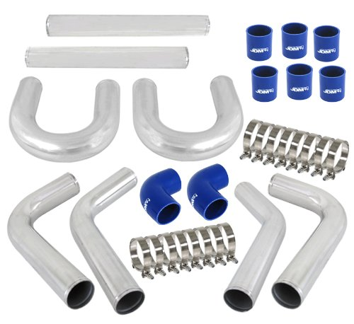 Universal 8 Piece 3' DIY Aluminum FMIC Intercooler Piping Polished U-Pipe Kit with Blue Couplers AJP