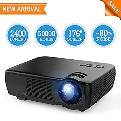 "Projector, TENKER Video Projector Upgrade Lumens +70% Brightness for 5.0"" Big Screen Home Theater Projector with 176"" Display Support 1080p HDMI VGA USB AV for Movie Nights, Video Games"