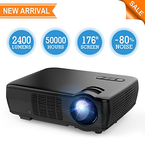 Projector, TENKER Video Projector Upgrade Lumens +70% Brightness for 5.0″ Big Screen Home Theater Projector with 176″ Display Support 1080p HDMI VGA USB AV for Movie Nights, Video Games
