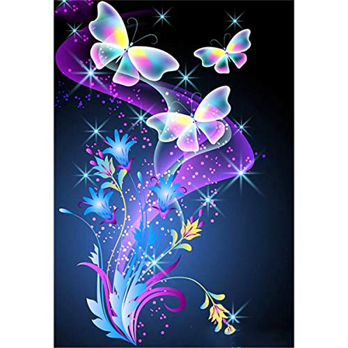 5D Diamond Painting Kits for Adults Color Butterfly feilin Full Drill, DIY Cross Stitch Crystal Mosaic Picture Artwork for Home Wall Decor Gift 40x30cm