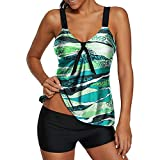 Womens Sexy Halter Patchwork Printed Open Back Tankini Top Set Two Piece Swimsuits,Plus Size Bathing Suits,MmNote Green