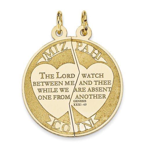 14K Yellow Gold Mizpah Charm Pendant Jewish Jewelry