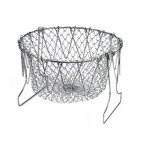 (Chef Basket, 304 Stainless Steel Foldable Steam Rinse Strain Fry Basket Strainer Net Kitchen Cooking Tool for Fried Food or Fruits)