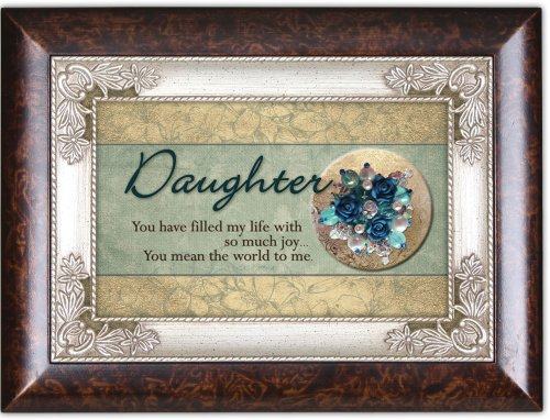 Cottage Garden Daughter Filled My Life with Burlwood Jewelry Music Box Plays Light Up My Life