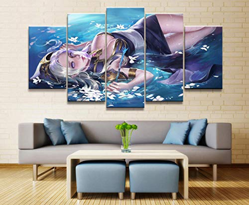 sansiwu k Home Decor Modular Canvas Picture 5 Piece Ashe League of Legends Game Painting Poster Wall for Home Canvas