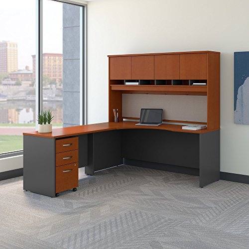 Bush Business Furniture Series C 72W Left Handed Corner Desk with Hutch and Mobile File Cabinet in Auburn Maple