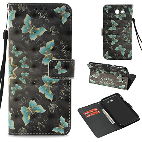 (Galaxy J7 V Case, Galaxy J7 Sky Pro Case, Galaxy J7 Perx Case, Galaxy Halo Case, Dooge 3D Painted Folio Kickstand Wallet Case with ID & Credit Card Holder for Samsung Galaxy J7V/J7 2017 )