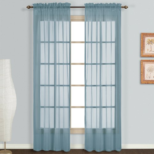 picture of United Curtain Monte Carlo Sheer Window Curtain Panel, 118 by 84-Inch, Slate Blue, Set of 2