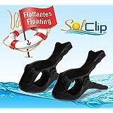 Beach Towel clips, pegs, clothespins, épingles, pinces à serviette de plage, SolClip Canada, Floating Fish Black