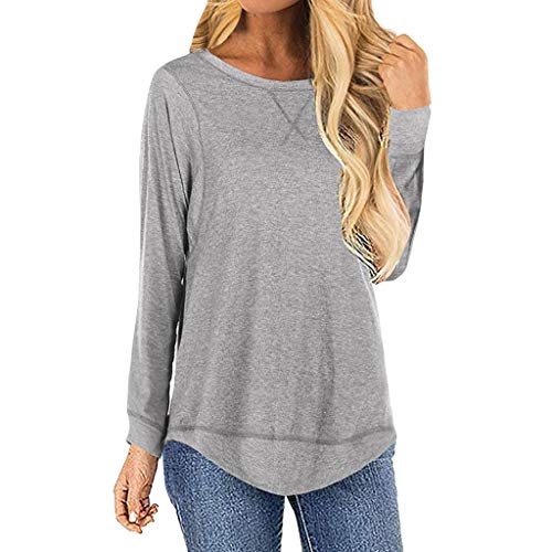 Womens Banks Cj Clothing - Women Long Sleeve Blouse ❤ Casual Solid Color Round Neck Splice T-Shirts Loose Tops ATRISE Gray