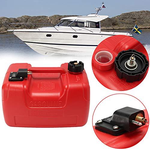 CUHAWUDBA 12L Port/áTil Barco Yate Motor Marina Fuera de Borda Tanque de Combustible Caja de Aceite con Conector Pl/áStico Rojo Resistente a la Corrosi/óN Antiest/áTico