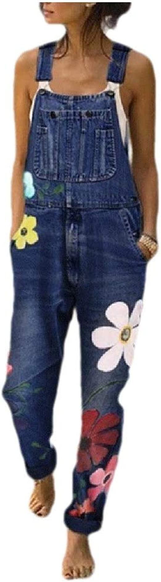 EnergyWD Womens Flower Mid Rise Slim Fit Washed Denim Overalls Long Jumpsuits