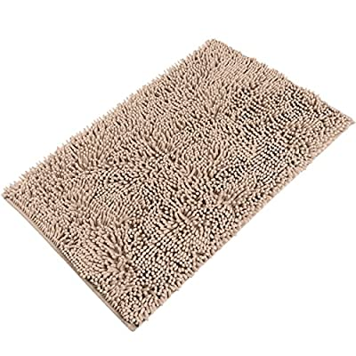"Sunnyglade 23.6"" X 35.4"" Non-slip Chenille Fabric Microfiber Bathroom Mat Soft Shaggy Bathroom Mat Shower Rug (Fine, Light Tan) - ✔[Super Soft & Shaggy and Dries Quickly] This mat is constructed with thousands of 1300g/m2 individual microfiber shags. It is super soft and shaggy. The mat's construction allows the water held in the mat to dry quickly, leaving the mat smelling and feeling clean, dry, and always free of any mold or mildew. The Sturdy design will keep the mat looking the same even after you just got out of the shower. ✔[Anti-Skid Latex Backing] Features a non-skid, keeps the bath rug in place, even when wet. The durable non-slip backing will not fade, keeping the mat in place for years. The non-slip backing provides added piece of mind when used with children/kids or elders, keeping wet feet off of slipper tile and off of a slippery bathroom rug. ✔ [Easy Care] Machine washable. Simply toss the whole mat into the washing machine, wash cold, hang to dry or air dry flat. Please do NOT use the dryer or put it in Hot water. The super soft microfiber material will not shrink or turn rough after the wash, keeping your bathroom rug in the same shape as the day you bought it. - bathroom-linens, bathroom, bath-mats - 510puawsT1L. SS400  -"