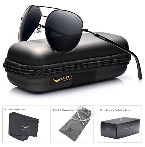 LUENX Aviator Sunglasses Polarized for Men Women with Sun Glasses Case - UV 400
