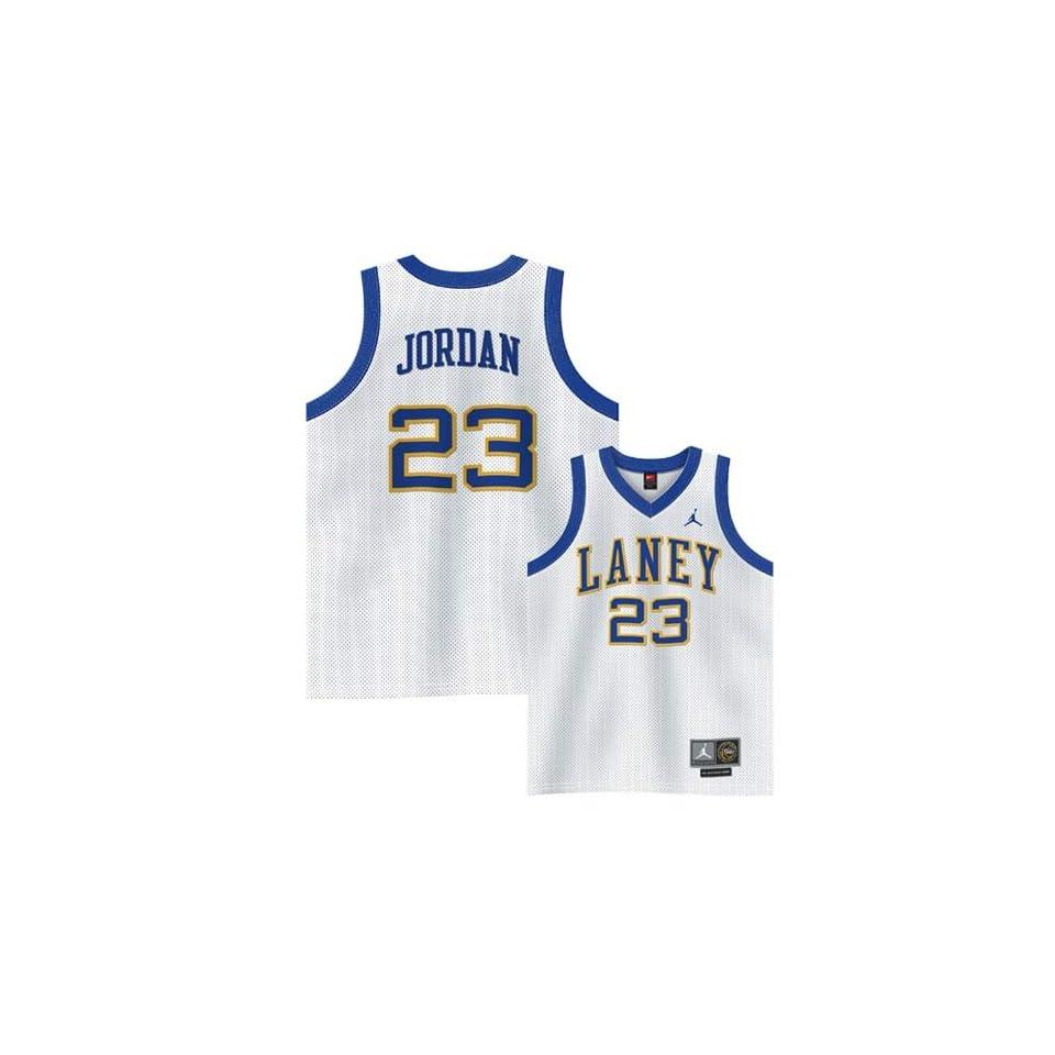 Nike Laney Buccaneers #23 Michael Jordan White High School TAG Throwback Twilled Jersey