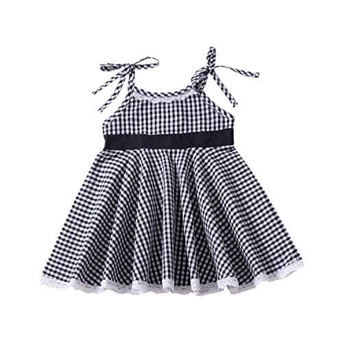 Summer Kids Girls Casual Sleeveless Plaid Print Off-Shoulder Strap Dress Costume Baby Children Cotton Dresses A 12M ()