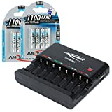 Ansmann 1001-0006-US-590-2 ANSMANN Powerline 8 AAA & AA Smart Battery Charger AA, AAA Rechargeable Batteries w. Discharge Function USB-Port + Eight 2850mAh Slimline AA Batteries
