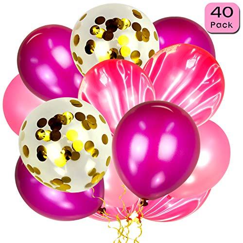 Gold Confetti Balloons and Pink Agate Balloons (40pcs), 12 InchLatex Balloons with Assorted Colors for Birthday Party, Wedding, Baby Shower and Home Decoration -