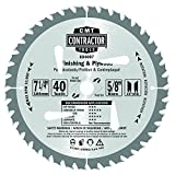 CMT K04007 ITK Contractor Finishing Saw Blade, 7-4 x 40 Teeth, 10° ATB with 5/8-Inch<> bore