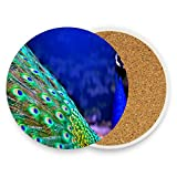 LoveBea Peacock Wallpapers Coasters, Protect Your Furniture from Stains,Coffee, Wood Coasters Funny Housewarming Gift,Round Cup Mat Pad for Home, Kitchen Or Bar Set of 4