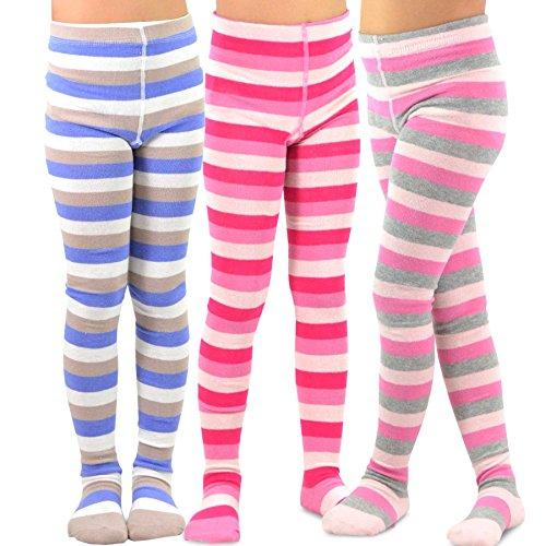 Pink Striped Tights (TeeHee (Naartjie) Kids Girls Fashion Cotton Tights 3 Pair Pack (6-8 Years,)