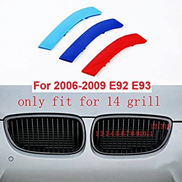 12 Grille for BMW 3 Series E90 2005-2008 M-Colored Front Grille Insert Trims Grill Stripes Stickers Center Kidney Grill Cover Performance Stickers 3Pcs
