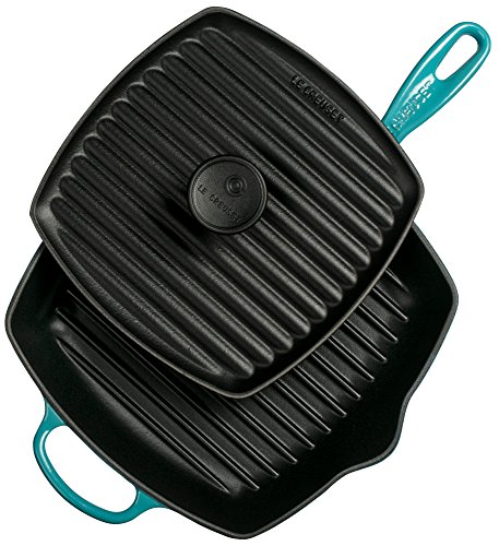 Le Creuset Cast Iron Panini Press and Signature Square Skillet Grill Set, 10 1/4'', Caribbean by Le Creuset