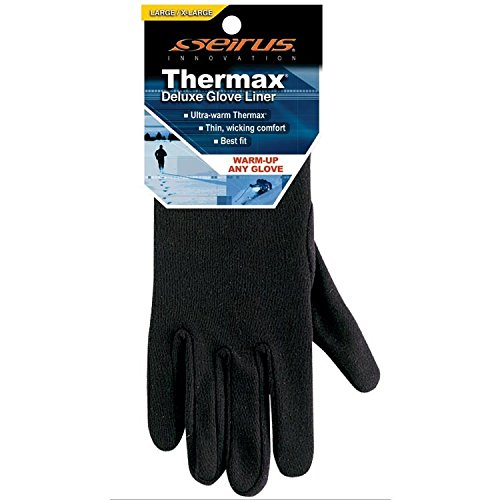 Seirus Thermax Liner Gloves - Seirus Innovation Men's Deluxe Thermax Liners,Large/X-Large,Black