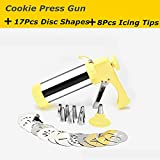 FashionMall FashionMall Stainless Steel Cookie Presses Gun Set Biscuit Press Tools with 17 Cookie Disc Shapes, 8 Icing Tips,Yellow