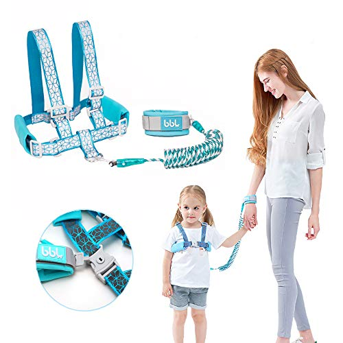 Toddler Harness Walking Leash- Child Anti Lost Wrist Link – Child Safety Harness – Upgrade with Reflective Tape Liner(6.5ft)- for 1-12 Years Boys and Girls to Disneyland, Zoo or Mall (Cyan Leash)