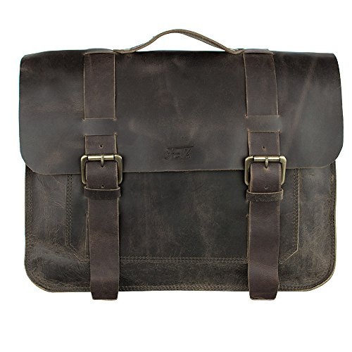 FOLK | Full Grain Buffalo Leather Messenger Laptop Bag | Briefcase | 15 inch by BevRox.com