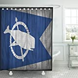 Emvency Shower Curtain 72''x72'' Polyester Fabric Abstract Nantucket City Flag Pattern On Synthetic Leather 3D Style Aged America Waterproof Adjustable Hook
