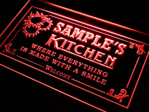 ps1078-r Wood's Personalized Welcome Kitchen Bar Wine Neon Light Sign