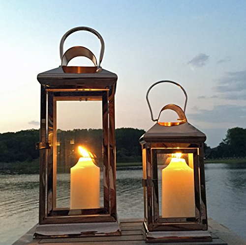 The New England Farmhouse Copper Hurricane Lanterns, Candle or LED Holders, Set of 2, Stainless Steel and Copper, 16 ½ and 13 3/8 Inches Tall, (H28-43cm ) All Year Round, By Whole House Worlds (Outdoor Hurricane Lantern)