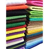 Misscrafts 42pcs Thick Soft Felt Nonwoven Fabric Sheet Pack DIY Craft Patchwork Sewing Squares Assorted Colors with Thread Bag